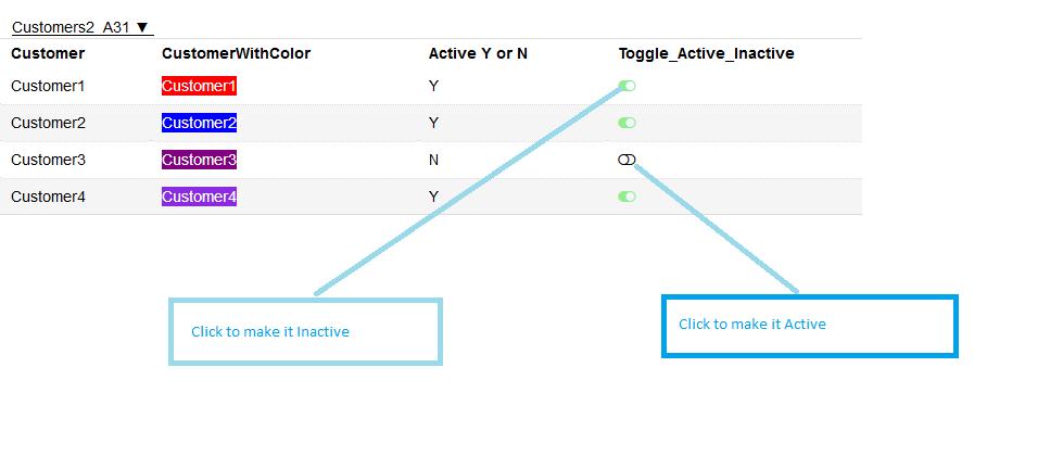 MyDataOrganizer Toggle Customer Status – Active – Inactive