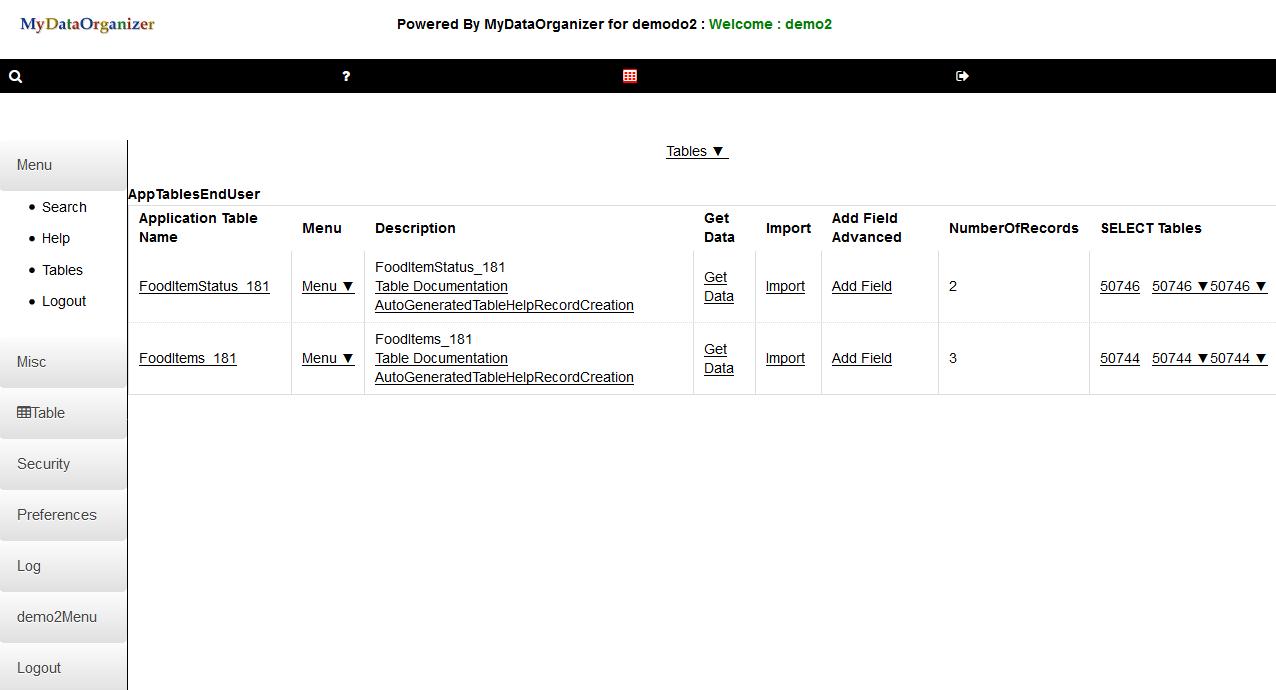 MyDataOrganizer LEARN Upper Lower Screen for Apps